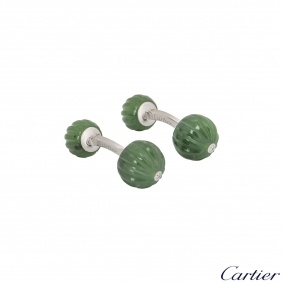 Cartier White Gold Diamond And Jade Bead Cufflinks